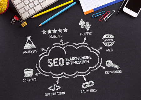 backlinks: Search Engine Optimization Chart with keywords and icons on blackboard
