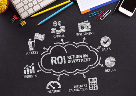 managed: ROI Return on Investment Chart with keywords and icons on blackboard Stock Photo