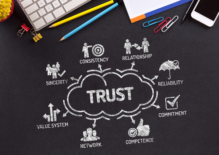 belief system: Trust Chart with keywords and icons on blackboard Stock Photo