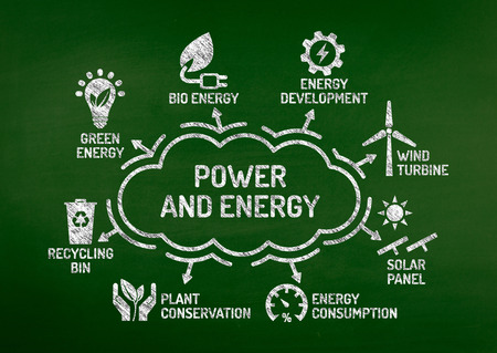 biosphere: Power and Energy Chart with keywords and icons on blackboard Stock Photo