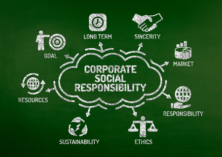 long term goal: Corporate Social Responsibility Chart with keywords and icons on blackboard Stock Photo