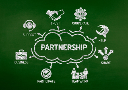 affiliation: Partnership Chart with keywords and icons on blackboard