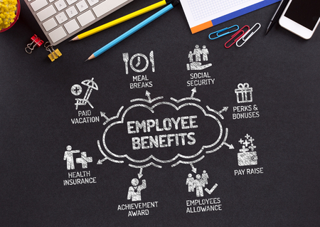 pay raise: Employee Benefits Chart with keywords and icons on blackboard