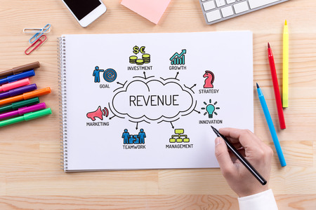 revenue: Revenue chart with keywords and sketch icons Stock Photo