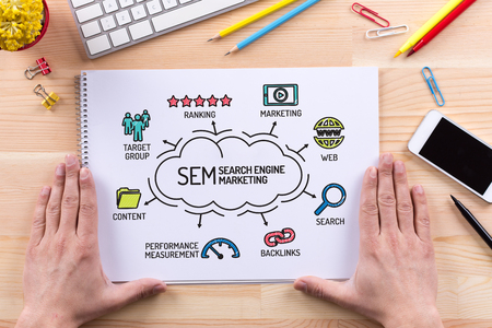 keywords: SEM Search Engine Marketing chart with keywords and sketch icons Stock Photo