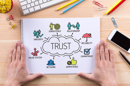 belief system: Trust chart with keywords and sketch icons Stock Photo