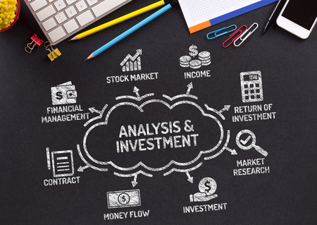 keywords: Analysis and Investment Chart with keywords and icons on blackboard