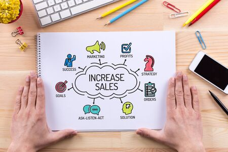 increase sales: Increase Sales chart with keywords and sketch icons Stock Photo