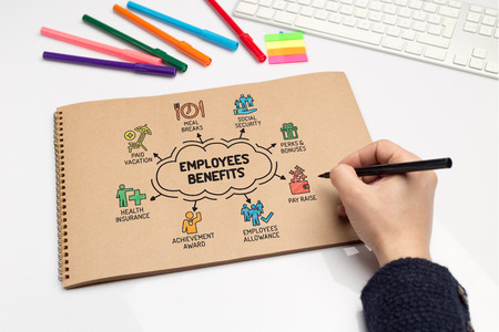 pay raise: Employee Benefits chart with keywords and sketch icons Stock Photo