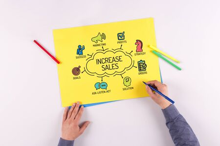 sales chart: Increase Sales chart with keywords and sketch icons Stock Photo