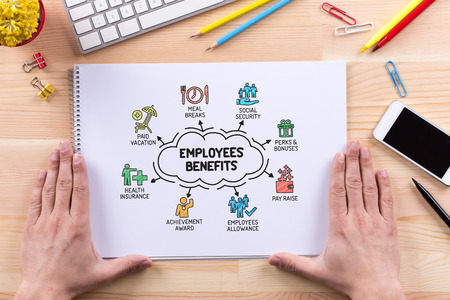 Employee Benefits chart with keywords and sketch icons Stock Photo