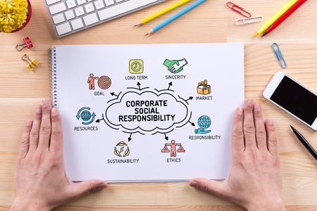 Corporate Social Responsibility chart with keywords and sketch icons Stock Photo