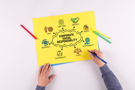 long term goal: Corporate Social Responsibility chart with keywords and sketch icons Stock Photo