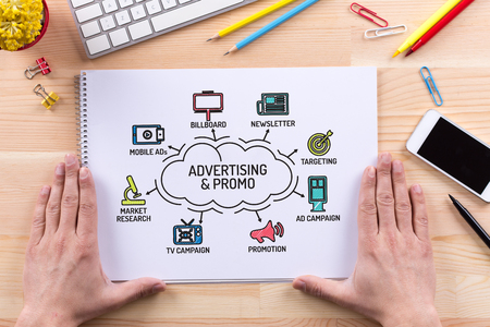 keywords: Advertising and Promo chart with keywords and sketch icons Stock Photo