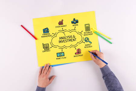 keywords: Analysis and Investment chart with keywords and sketch icons Stock Photo