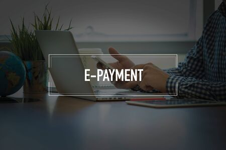 epayment: Hand writing E-PAYMENT on yellow paper Stock Photo