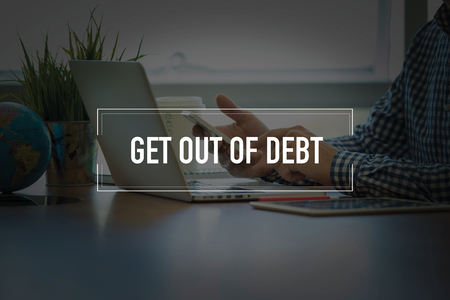 consolidate: PEOPLE USING SMARTPHONE COMMUNICATION TECHNOLOGY  GET OUT OF DEBT OFFICE CONCEPT Stock Photo