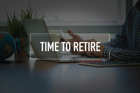 retire: PEOPLE USING SMARTPHONE COMMUNICATION TECHNOLOGY  TIME TO RETIRE OFFICE CONCEPT Stock Photo