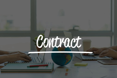 technology agreement: TEAMWORK OFFICE BUSINESS COMMUNICATION TECHNOLOGY  CONTRACT GLOBAL NETWORK CONCEPT Stock Photo