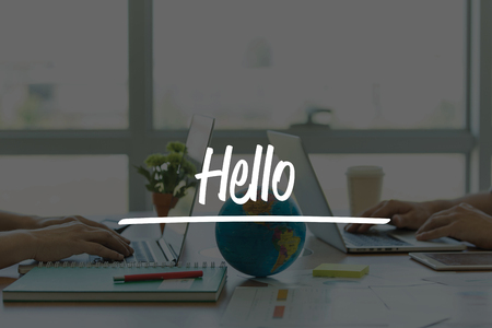 english ethnicity: TEAMWORK OFFICE BUSINESS COMMUNICATION TECHNOLOGY  HELLO GLOBAL NETWORK CONCEPT