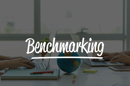 benchmarking: TEAMWORK OFFICE BUSINESS COMMUNICATION TECHNOLOGY  BENCHMARKING GLOBAL NETWORK CONCEPT Stock Photo