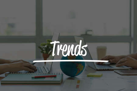 technology trends: TEAMWORK OFFICE BUSINESS COMMUNICATION TECHNOLOGY  TRENDS GLOBAL NETWORK CONCEPT Stock Photo