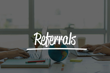 referrals: TEAMWORK OFFICE BUSINESS COMMUNICATION TECHNOLOGY  REFERRALS GLOBAL NETWORK CONCEPT Stock Photo