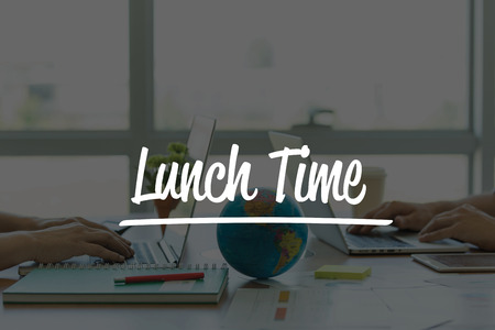 TEAMWORK OFFICE BUSINESS COMMUNICATION TECHNOLOGY  LUNCH TIME GLOBAL NETWORK CONCEPT Stock Photo