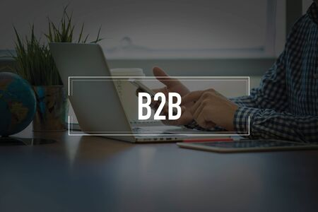 b2b: PEOPLE USING SMARTPHONE COMMUNICATION TECHNOLOGY  B2B OFFICE CONCEPT