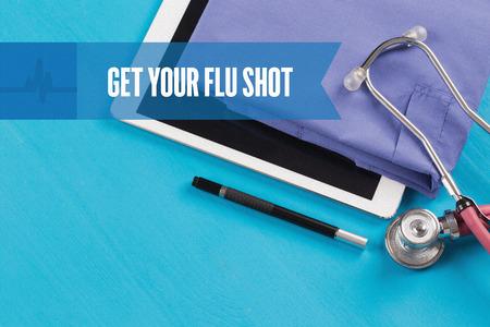 swine flu vaccine: HEALTHCARE DOCTOR TECHNOLOGY  GET YOUR FLU SHOT CONCEPT Stock Photo