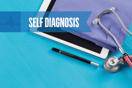 assessment system: HEALTHCARE DOCTOR TECHNOLOGY  SELF DIAGNOSIS CONCEPT Stock Photo