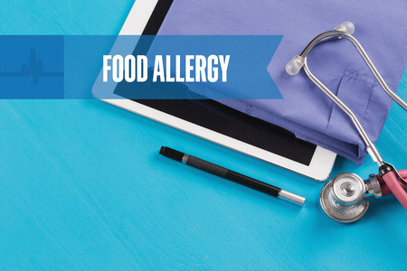 food allergy: HEALTHCARE DOCTOR TECHNOLOGY  FOOD ALLERGY CONCEPT Stock Photo