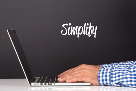 simplification: WORKING OFFICE COMMUNICATION PEOPLE USING COMPUTER SIMPLIFY CONCEPT Stock Photo