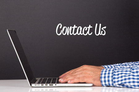 contactus: WORKING OFFICE COMMUNICATION PEOPLE USING COMPUTER CONTACT US CONCEPT Stock Photo