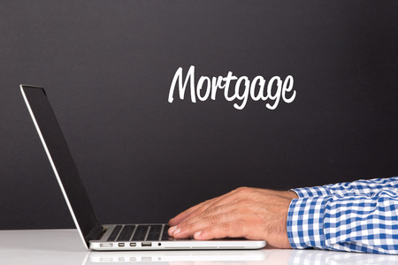 repayment: WORKING OFFICE COMMUNICATION PEOPLE USING COMPUTER MORTGAGE CONCEPT Stock Photo