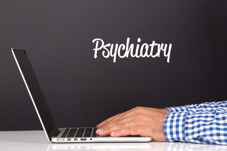 psychiatry: WORKING OFFICE COMMUNICATION PEOPLE USING COMPUTER PSYCHIATRY CONCEPT Stock Photo