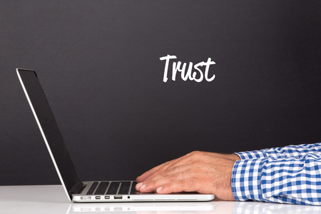 trust people: WORKING OFFICE COMMUNICATION PEOPLE USING COMPUTER TRUST CONCEPT Stock Photo