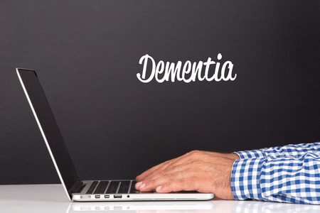 aging brain: WORKING OFFICE COMMUNICATION PEOPLE USING COMPUTER DEMENTIA CONCEPT Stock Photo