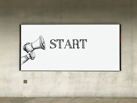 difficult mission: MEGAPHONE ANNOUNCEMENT START ON BILLBOARD Stock Photo
