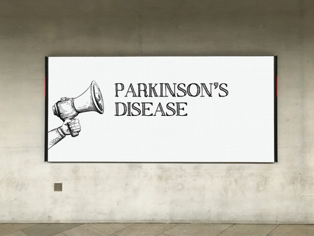 MEGAPHONE ANNOUNCEMENT PARKINSONS DISEASE ON BILLBOARD