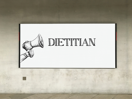 dietology: MEGAPHONE ANNOUNCEMENT DIETITIAN ON BILLBOARD Stock Photo