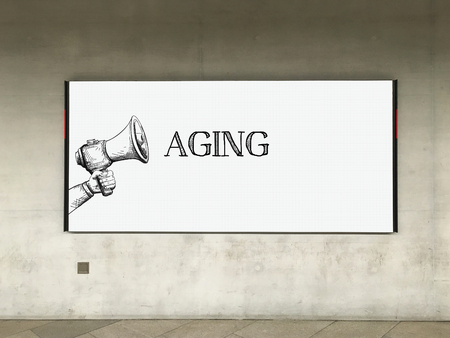 aging: MEGAPHONE ANNOUNCEMENT AGING ON BILLBOARD Stock Photo