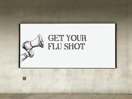 swine flu vaccinations: MEGAPHONE ANNOUNCEMENT GET YOUR FLU SHOT ON BILLBOARD Stock Photo