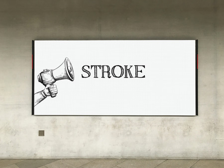 sudden death: MEGAPHONE ANNOUNCEMENT STROKE ON BILLBOARD Stock Photo