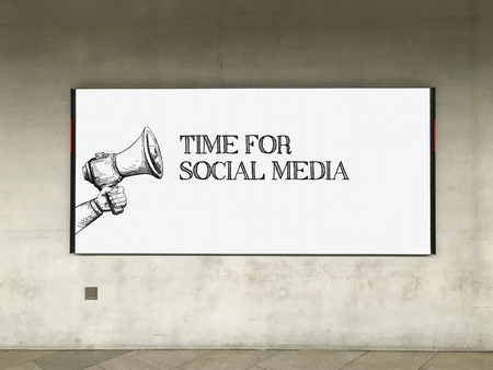 textcloud: MEGAPHONE ANNOUNCEMENT TIME FOR SOCIAL MEDIA ON BILLBOARD