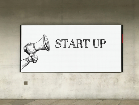 businessteamwork: MEGAPHONE ANNOUNCEMENT START UP ON BILLBOARD Stock Photo