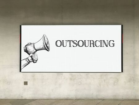 offshoring: MEGAPHONE ANNOUNCEMENT OUTSOURCING ON BILLBOARD Stock Photo