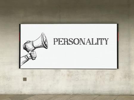 personalidad: MEGAPHONE AVISO DE PERSONALIDAD EN LA CARTELERA Foto de archivo