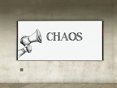 chaos: MEGAPHONE ANNOUNCEMENT CHAOS ON BILLBOARD Stock Photo