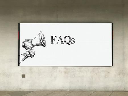 faq's: MEGAPHONE ANNOUNCEMENT FAQS ON BILLBOARD Stock Photo